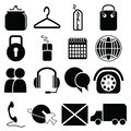 On line Shopping icons: purse, bag, sale label, security padlock, mouse, click and collect, world wide delivery, globe,  car Royalty Free Stock Photo