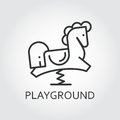 Line simplicity icon of childrens rocking horse. Playground concept