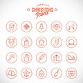 Line Style Christmas and New Year Icon Set  With Royalty Free Stock Photo