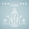 Line style emblem with stylized snowman