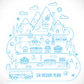 Line style vector ski resort vacation illustration plan isolated Royalty Free Stock Images