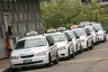 Line of taxi cabs in sydney, australia. Royalty Free Stock Photo