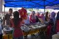 Line up forfood kuala lumpur july customers waiting in to get food at a food stall in ramadan bazaar on july kuala lumpur malaysia Stock Photography