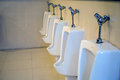 The line of urinall in the men`s toilet Royalty Free Stock Photo