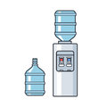 Line vector plastic water cooler with blue full bottle. Flat illustration on white background