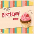 Line vintage birthday card with realistic cherry cupcake