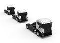 A line of White Trucks