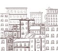 Line work, doodle city. Black lines on white background. VECTOR hand drawn sketch Royalty Free Stock Photo