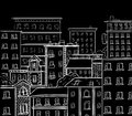 Line work, doodle city. White lines on black chalkboard. VECTOR hand drawn sketch Royalty Free Stock Photo