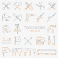 Line working color tools for construction, building and home repair icons set. Vector illustration. Elements for design