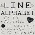 Linear alphabet. Printed font. Geometric pattern.