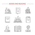 Linear book icons.