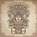 Linear drawing: decorative image of an ancient Indian deity.