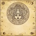 Linear drawing: decorative image of an ancient Indian deity. Space symbols.