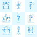 Linear Flat Business people object vector illustra