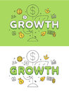 Linear Flat Business Strategy GROWTH plant coin