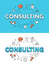 Linear Flat CONSULTING chat bubble vector Business