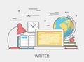 Linear Flat copywriting writer service vector illu