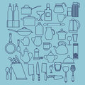 Linear flat design illustration of collection  kitchenware Royalty Free Stock Photo