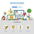 Linear flat design studio workplace infographics v