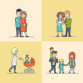 Linear Flat Family baby pram pregnant hug vector Royalty Free Stock Photo