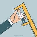 Linear Flat hands measure calipers vector Assessme