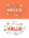 Linear Flat HELLO chat bubble vector image network