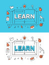 Linear Flat LEARN word over Book and Education