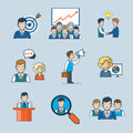 Linear flat line art business people team concept style icon set targeting report idea partnership chat discuss announce promote Royalty Free Stock Image