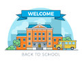 Linear Flat school bus and building facade vector Royalty Free Stock Photo