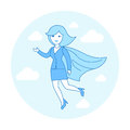 Linear Flat Superhero flying suit red cape vector