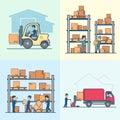 Linear Flat vector loader shelve box load van