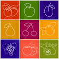 Linear Fruit Berry Icons
