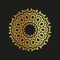 Linear gold vector ornamental mandala illustration. Abstract line art backdrop template logo. Golden beauty decorative