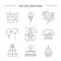 Linear icons birthday.