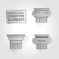 Linear icons columns flat with long shadows elements of a corporate logo vector set Royalty Free Stock Photos