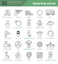 Linear icons for military infographics