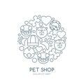 Linear illustration of cute muzzle of cat, dog, bird, snake.