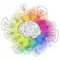 Linear illustration of human brain with light bulbs Royalty Free Stock Photo