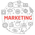 Linear illustration for presentations round marketing