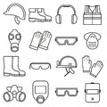 Linear job safety equipment vector icons set