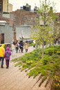 Linear park high line new york people walk along the of city located in lower manhattan in the neighborhood known as chelsea a Royalty Free Stock Photography