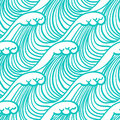Linear pattern in tropical aqua blue with waves simple elegant seamless vector texture for web and print spring fashion fabric Stock Photography