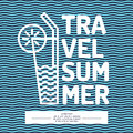 Linear poster text summer travel with a cocktail Royalty Free Stock Photo