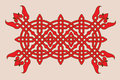 Linear red pattern with interlacing ornament decor elements Stock Photography