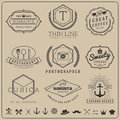 Linear thin line badge logo sets Royalty Free Stock Photo