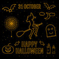 Linear trendy happy halloween silhouettes witch,pumpkin, elements, spider sticker, candy,monster, candle, moon, sky