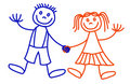 Lineart boy and girl Royalty Free Stock Photo