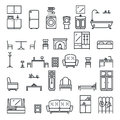Lineart Flat Furniture Icons and Symbols Set Living Room Isolated Vector Illustration
