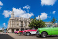 Lined up american Oldtimer on the main street in Havana Cuba - Serie Kuba 2016 Reportage Royalty Free Stock Photo